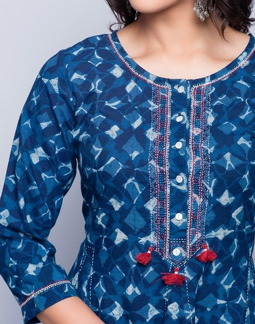Cotton Cambric Anarkali Dabu Printed Long Kurta
