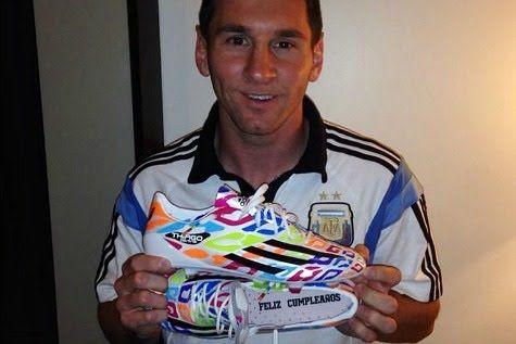 El delantero argentino utilizó la nueva edición de botines durante el previo ante Nigeria 3-2 en la ciudad de Porto Alegre.Las nuevas botas son una edición especial de cumpleaños, las f50 de Messi, las cuales está usando actualmente para la Copa Mundial de la FIFA Brasil 2014.