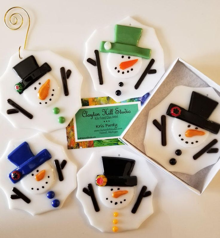 Fused Glass Melted Snowman Ornament