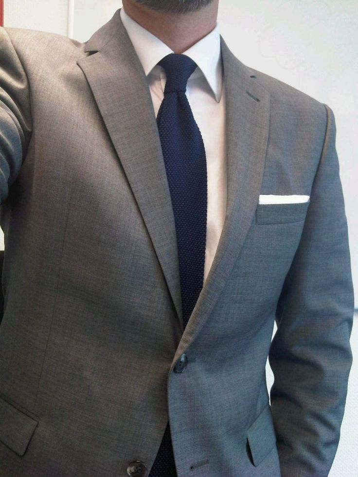 Medium Gray Suit With White Shirt And Knit Navy Tie