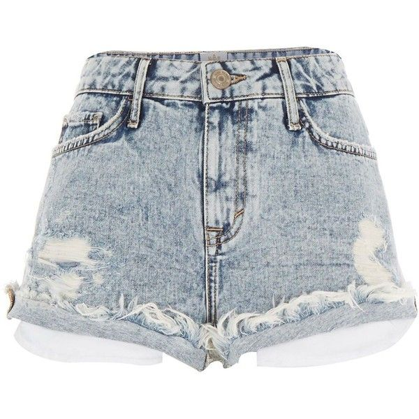 River Island Light acid wash distressed Ruby denim shorts ($60) ❤ liked on Polyvore featuring shorts, bottoms, short, pants, denim shorts, women, short jean shorts, distressed denim shorts, summer shorts and ripped denim shorts