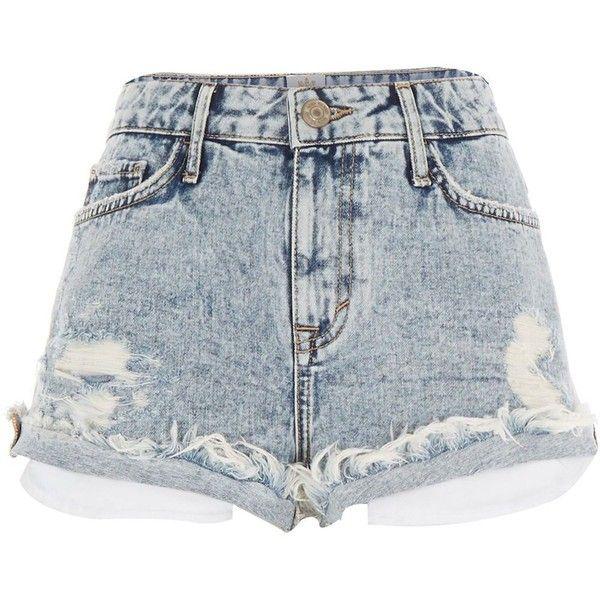 River Island Light acid wash distressed Ruby denim shorts (£39) ❤ liked on Polyvore featuring shorts, bottoms, short, pants, denim shorts, women, jean shorts, acid wash shorts, ripped shorts and ripped short shorts