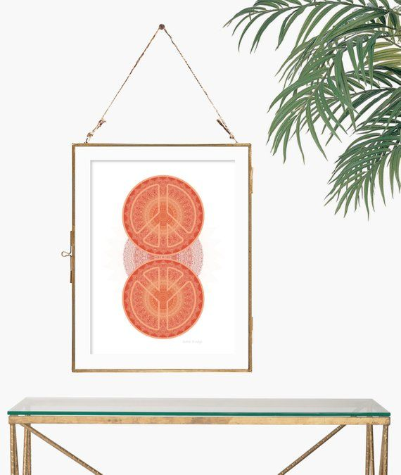 Peace sign print wall art 70s decor orange mandala poster boho chic office moder… – Products