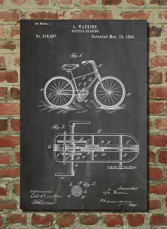 Bicycle Gear Wall Art Poster    This patent poster is printed on 90 lb. Cardstock paper. Choose between several paper styles and multiple sizes.