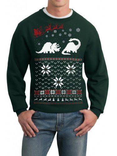 Skip N' Whistle Men's Ugly Christmas Sweater Santa Dinosaur Pullover Sweatshirt for only $13.00 You save: $8.95 (41%)