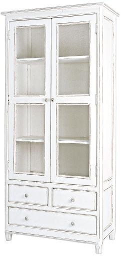 La vitrina Colette tiene unas medidas de 90x38x185h, acabado en color blanco anticuario y compuesta por dos grandes puertas cristaleras y dos cajones bajos.