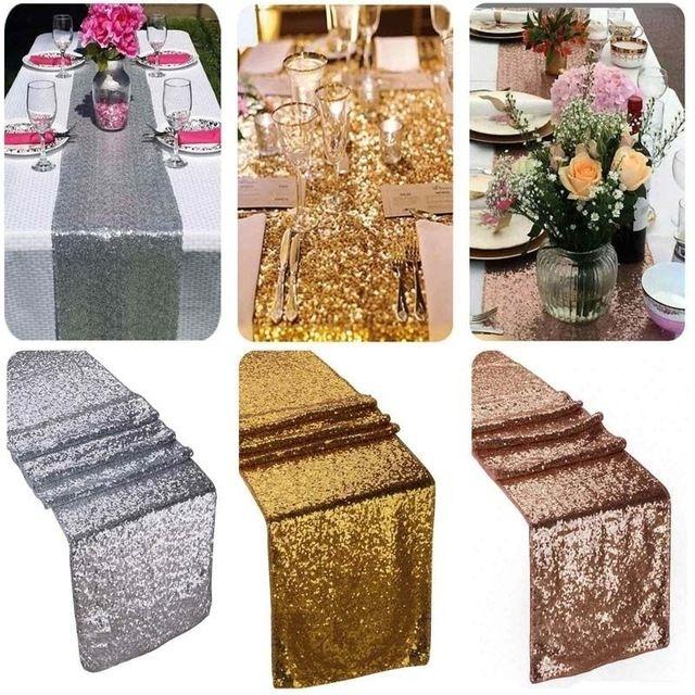 Лидер продаж Свадебная вечеринка украшения скатерти 2017 Блестящие Светло цвета: золотистый, серебристый с блестками бегун стол флаг Runner ткань охватывает