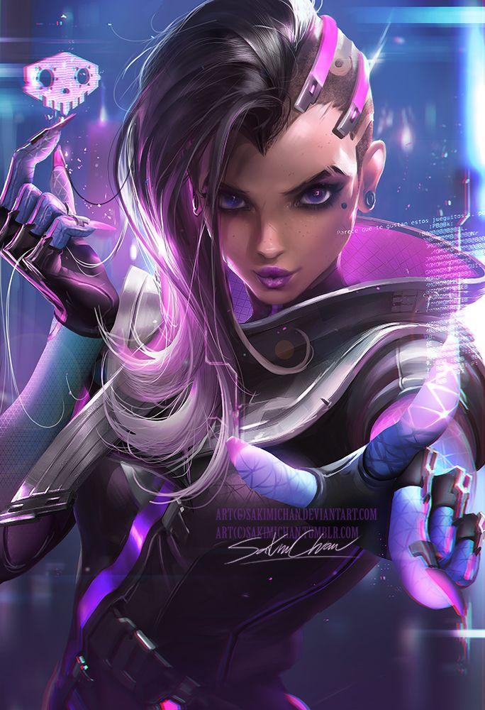 boop by sakimichan on @DeviantArt , Overwatch Fan Art, Illustration, Digital Painting, Sombra Fan Art, Sexy Portrait, Inspirational Art