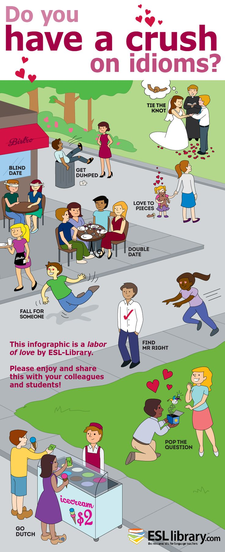 """""""Infographic for Valentine's Day: Love Idioms:: Here is a fun graphic that we created for Valentine's Day! You can use it to explain a few """"love idioms"""" to your students."""""""