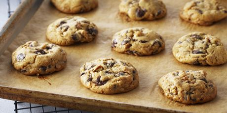 Classic Chocolate Chip Cookies (Anna Olson) - Two secrets: adding cornstarch to retain moisture and guarantee a soft-centred cookie and chilling the dough before baking to ensure they all bake to the same size and don't spread too much while baking.