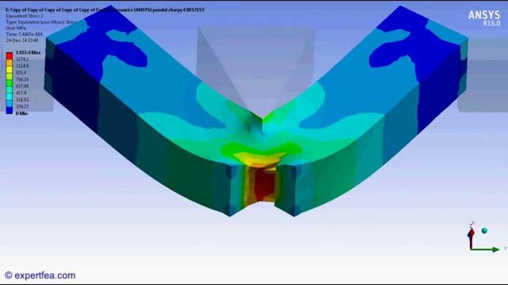 ANSYS Workbench Explicit Dynamics FEA of Charpy V-notch impact test