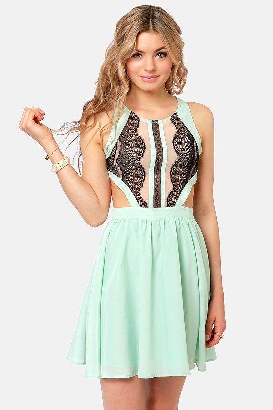 Sexy Mint Dress - Lace Dress - Backless Dress - Cutout Dress - $57.00