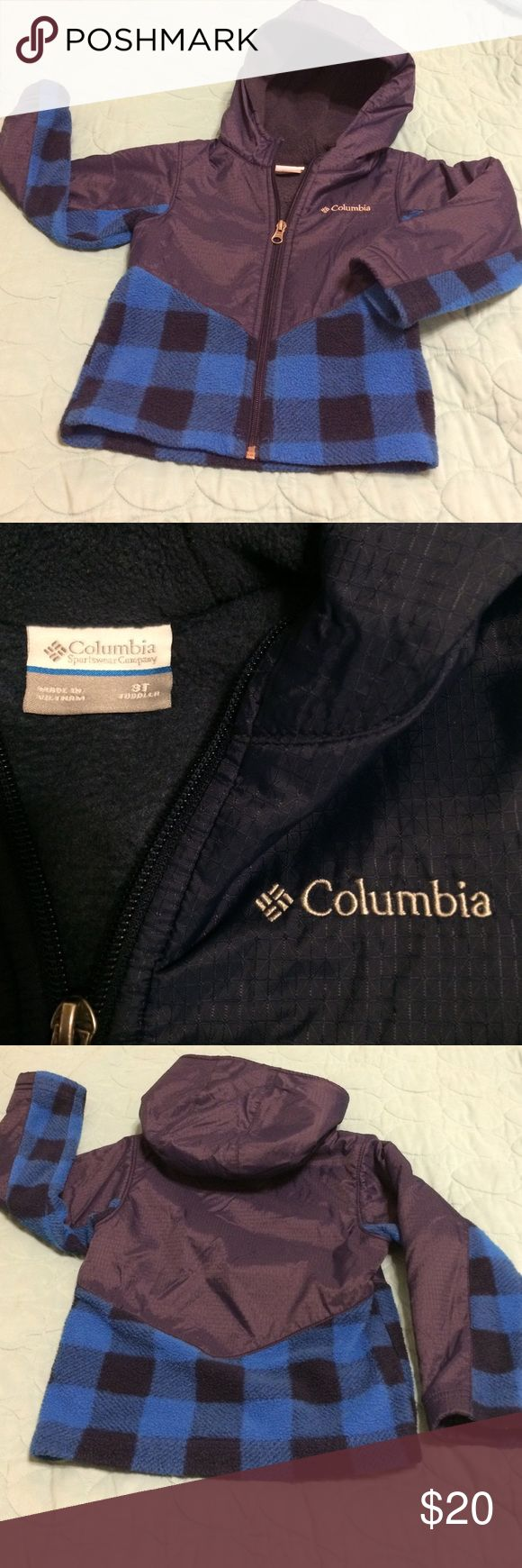 Columbia Sportswear Hooded Jacket Excellent--almost new looking--Columbia Sportswear hooded jacket. Beautiful Navy blue nylon top and hood with Buffalo Plaid botttom & accent on sleeves so it is snuggly and helps repel the elements. Columbia Jackets & Coats