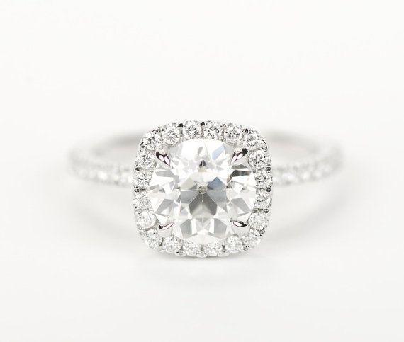 Old European Cut Round Forever Brilliant Moissanite Cushion Diamond Halo Ring - 14K White Gold