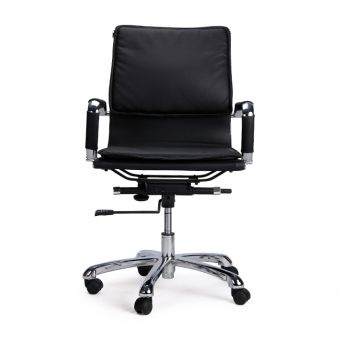 Slim Back Cushioned Revolving Office Chair No. 1  The chair is ergonomically designed and has a torsion bar suspension for added comfort.