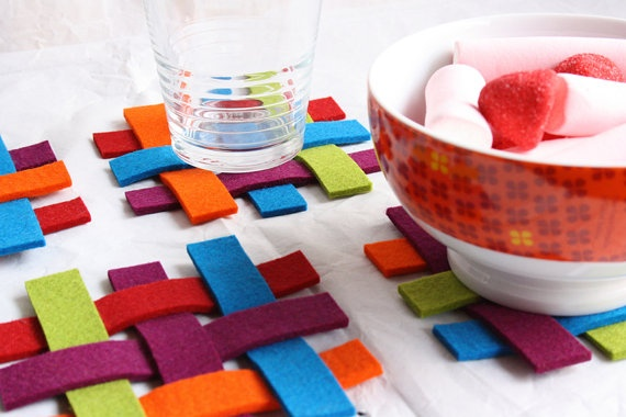 Woven felt coasters  set of 5 by TheWoolWorld on Etsy, €15.00