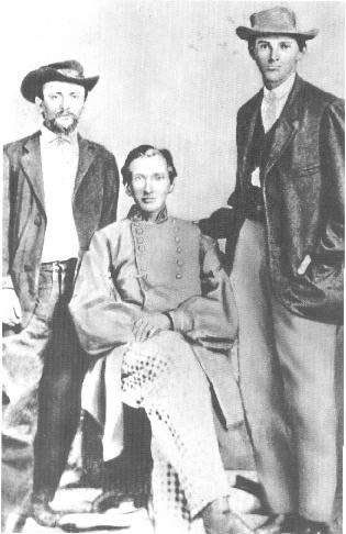 Frank and Jesse James | Rare photo of, from right, Jesse James, brother Frank James and ...