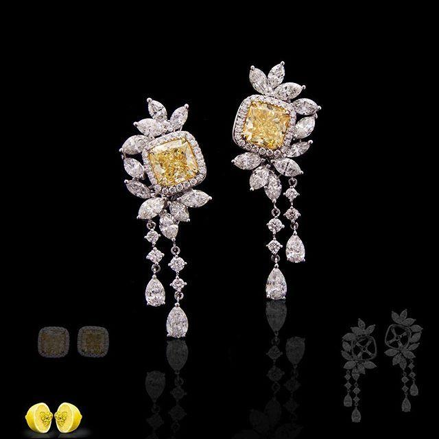 Novel Collection. Fancy yellow diamond earrings