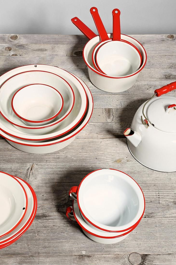 Red + White Vintage Enamelware