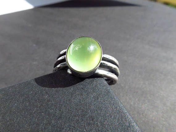 Lässiger Prehnit Silber Ring grün Gr.95  grün gelb breiter