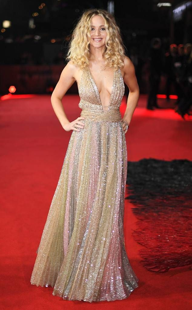 f14b181c Golden Girl from Fashion Police Jennifer Lawrence looks drop dead gorgeous  in a sparkling gold Dior gown at the Red Sparrow premiere in London.