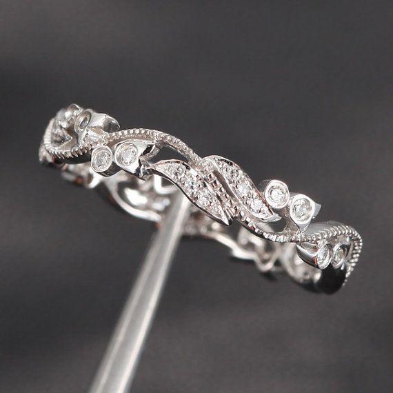 Milgrain Wedding Band Pave .30ct Diamonds 14K White Gold  Engagement Ring,Wedding Ring,Engagement Ring on Etsy, $300.00