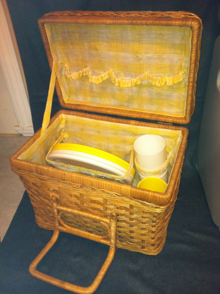 Picnic Basket in pwemhaner's Garage Sale in Vian , OK for $50. Nostalgic Picnic Basket, lined with yellow gingham.  Yellow and white plates, cups and utensils. Gently used.  Great decorator item.