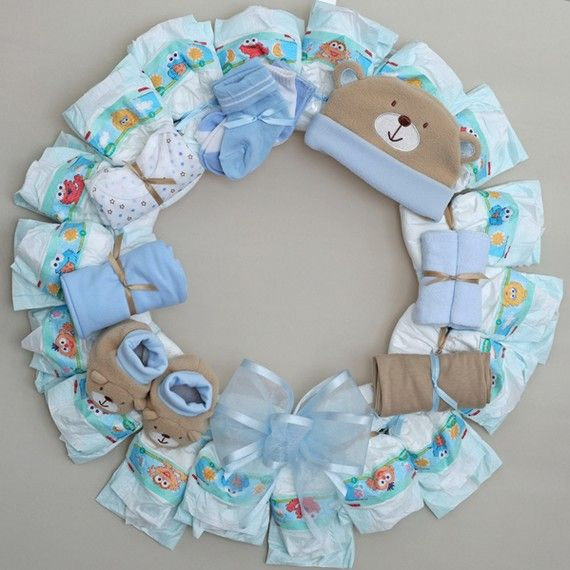 Things To Do With Diapers For A Baby Shower: Adorable Baby Blue Diaper Wreath For A Boy!