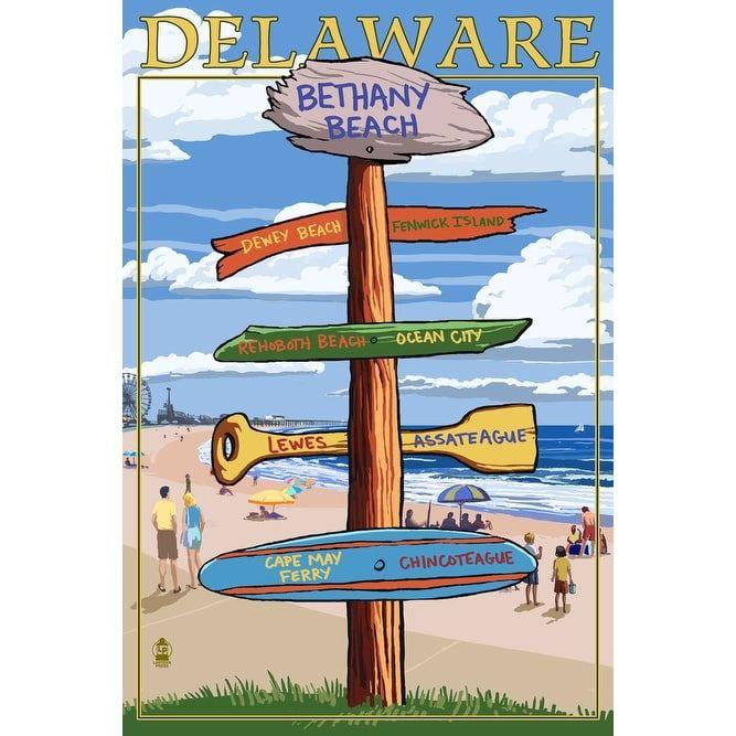 Bethany Beach, DE - Dest Sign - LP Artwork (Cotton/Polyester Chef's Apron), Blue wash