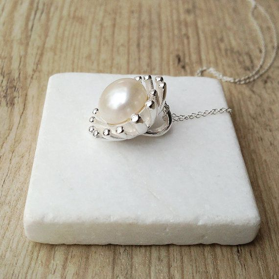 Pearl Solitaire Necklace Big Sterling Silver by SunSanJewelry