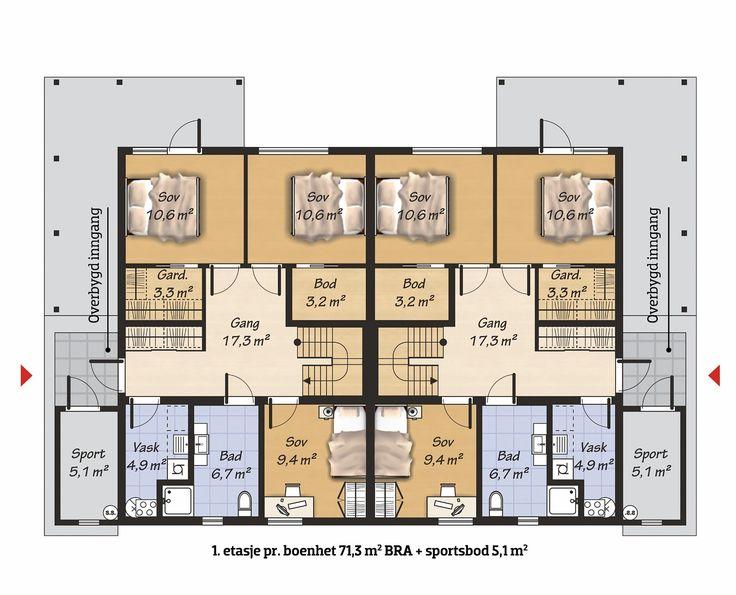 Boligene har en funksjonell og trivelig planløsning, og en høyst iøynefallende funkisform. Terrasse på grunnplanet. Deler av denne er skjermet av balkongen i 2. etasje. Balkongen har rekkverk med glass. Pulttaket gir skrå himling i andre etasje, og en luftig romfølelse i kombinasjon med de store vinduene. 1. etasje. har 2 romslige soverom og bod. Her er også bad og vaskerom. Egen utendørs sport...
