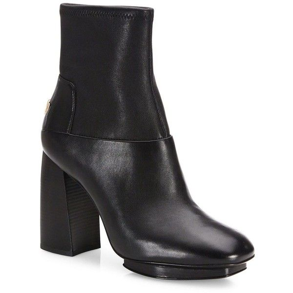 Tory Burch Sidney Leather Block-Heel Booties (2.557.035 IDR) ❤ liked on Polyvore featuring shoes, boots, ankle booties, apparel & accessories, black, leather ankle boots, short black boots, leather booties, block heel booties and black leather bootie