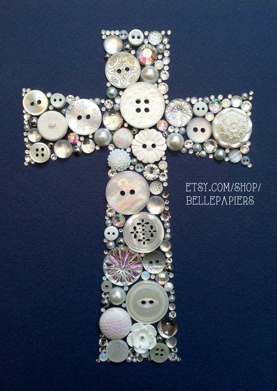 5x7 Button Art Cross Buttons and Swarovski Rhinestones Custom Wall Art