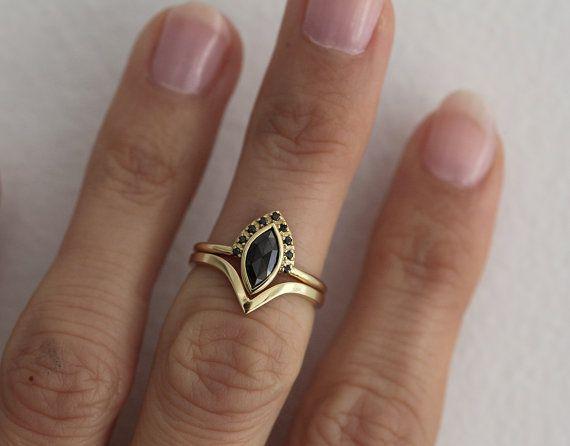 Wedding Ring Set Diamond Engagement Ring Set Set For by MinimalVS
