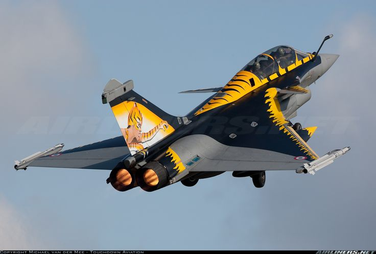 Dassault Rafale during take off in specia tiger meet colours