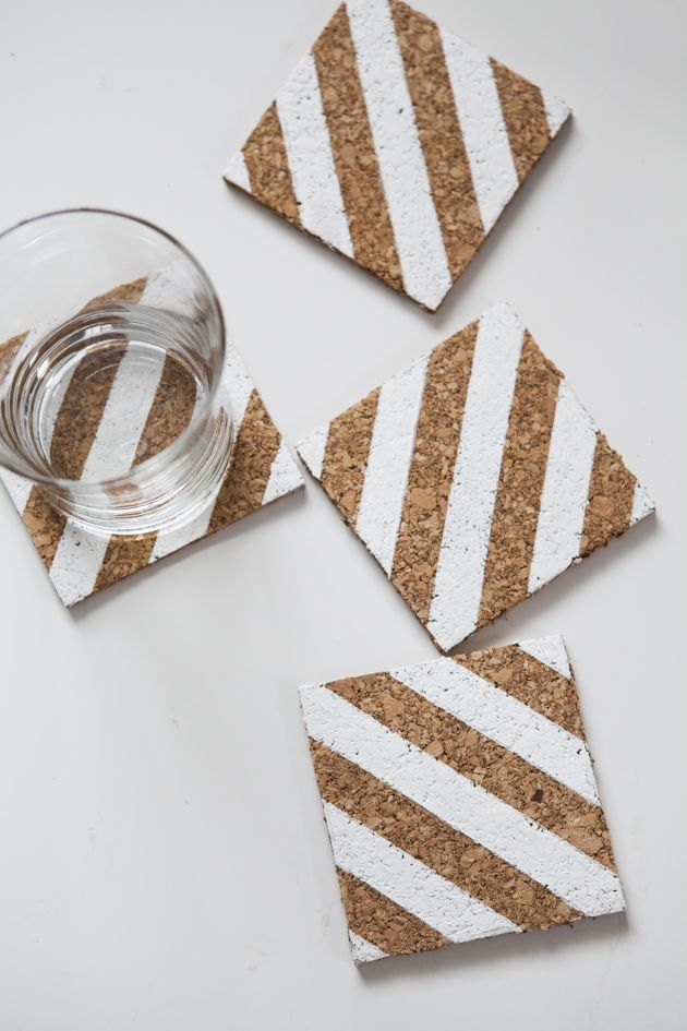 DIY Striped Corkboard Coasters--this could actually be a fantastic and inexpensive wedding favor!