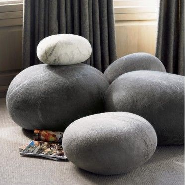 Felted Wool Stone Cushions: African Textiles, Wool Stones, Felt Wool, Beans Bags, Floors Cushions, Floors Pillows, Felted Wool, Rocks, Floor Cushions