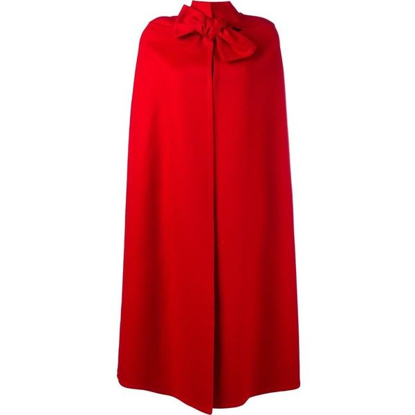 Valentino oversized cape ($4,890) ❤ liked on Polyvore featuring outerwear, red, red cape, red cape coat and cape coat