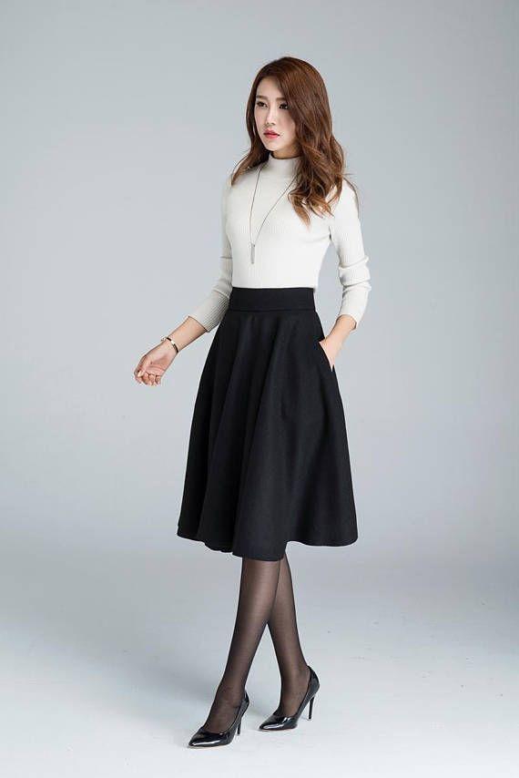 3a515a4ae Wool circle skirt, black skirt, winter skirt, skater skirt, knee ...