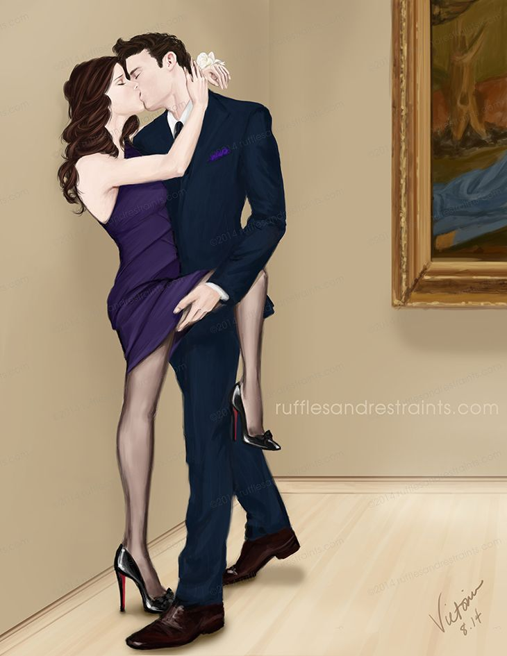Here's another illo based on a moment taken from Gabriel's Inferno by Sylvain Reynard. Gabriel surprises Julia with a visit to a museum for her birthday…and they end up admiring more than just the artwork… ;)