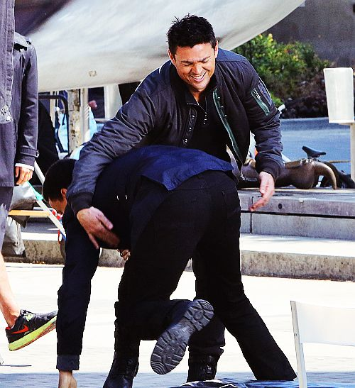 Almost Human - Karl Urban and Michael Ealy (having fun on-set, no doubt!)