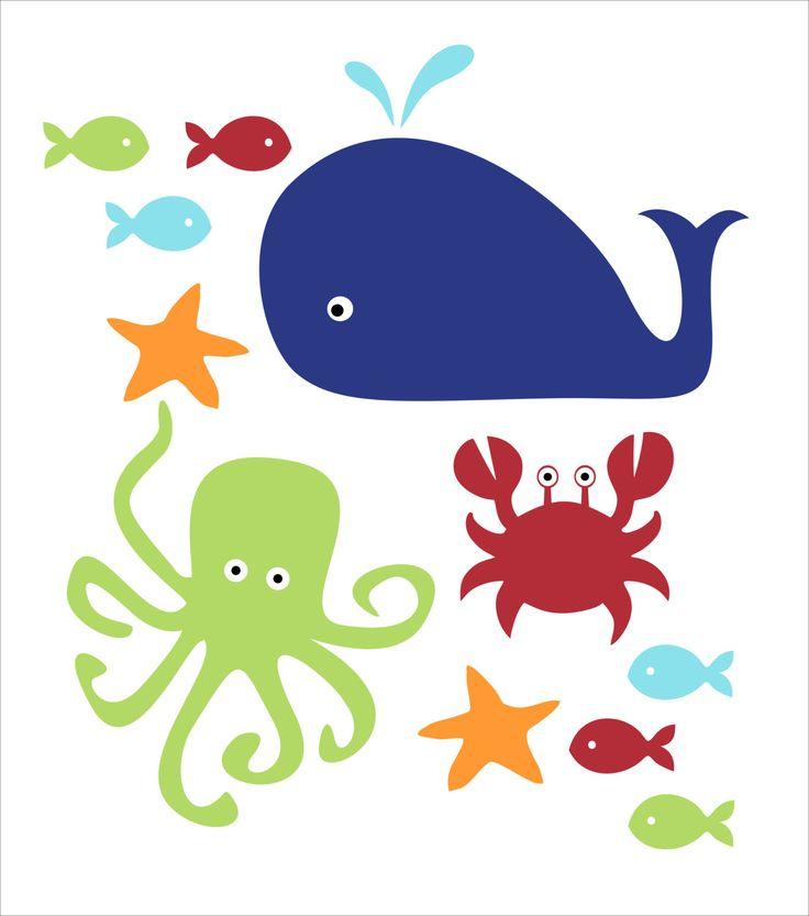 Pesci balena e granchio adesivi murali bambini di FieldandFlower