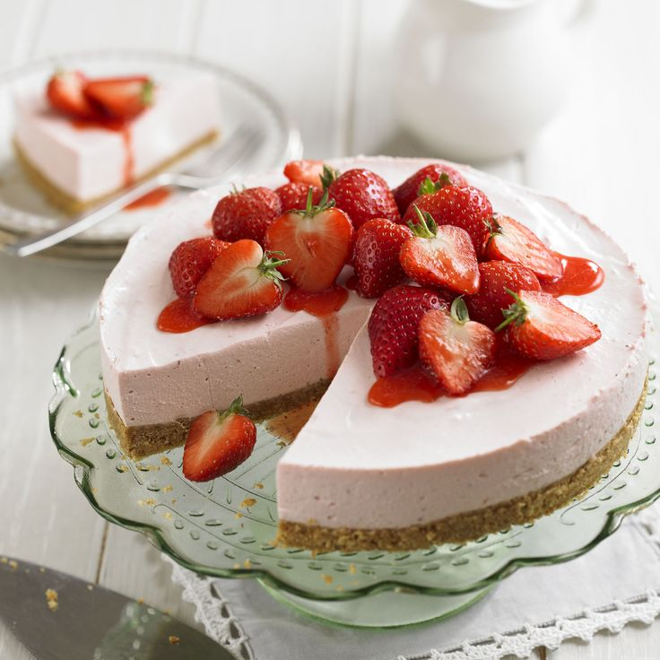 Make the most of the English strawberries in this no bake cheesecake. Serve with strawberry sauce and extra berries for a true taste of summer.