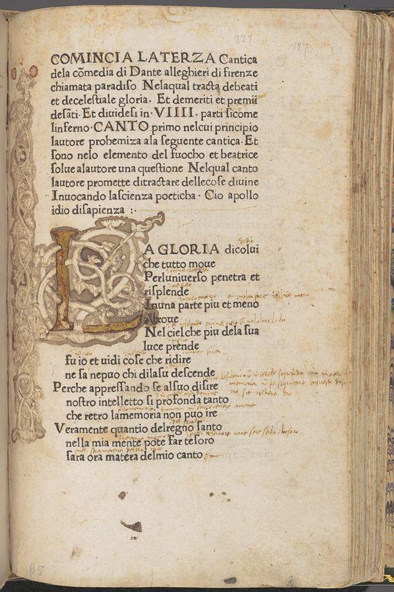 Dante Alighieri, La Divina Commedia. Foligno (Italy): Johann Neumeister, 1472.