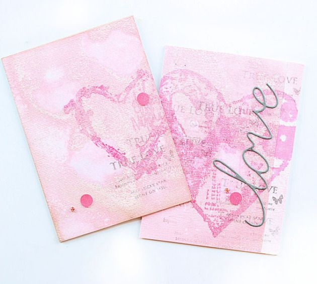 Valentine's Day Card by Jowilna Nolte. Love, Hearts. Imagine and Tsukineko ink. papercraft. cardmaking. handmade card.