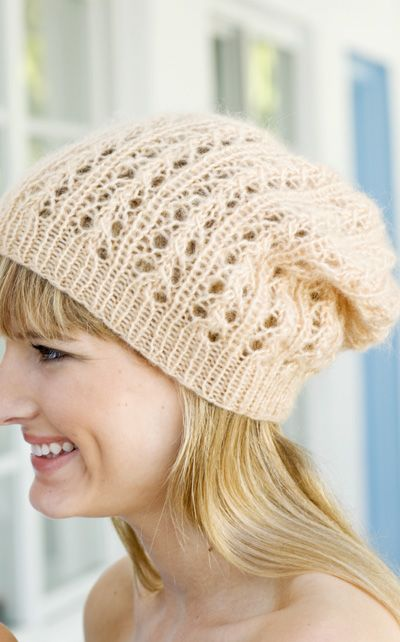 Knit lace hat with instructions in Finnish.