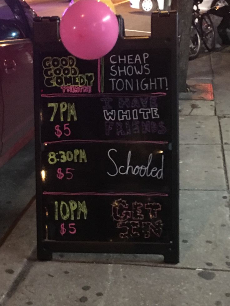 """New """"sandwich board"""" outside of the Good Good Comedy Theater at 11th and Race Streets in the Chinatown Section of Philadelphia, PA."""