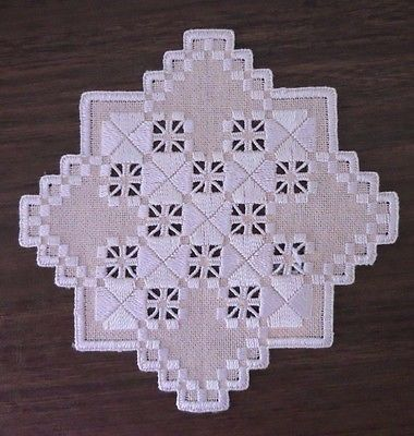 HARDANGER EMBROIDERY DOILY - Bisque - New