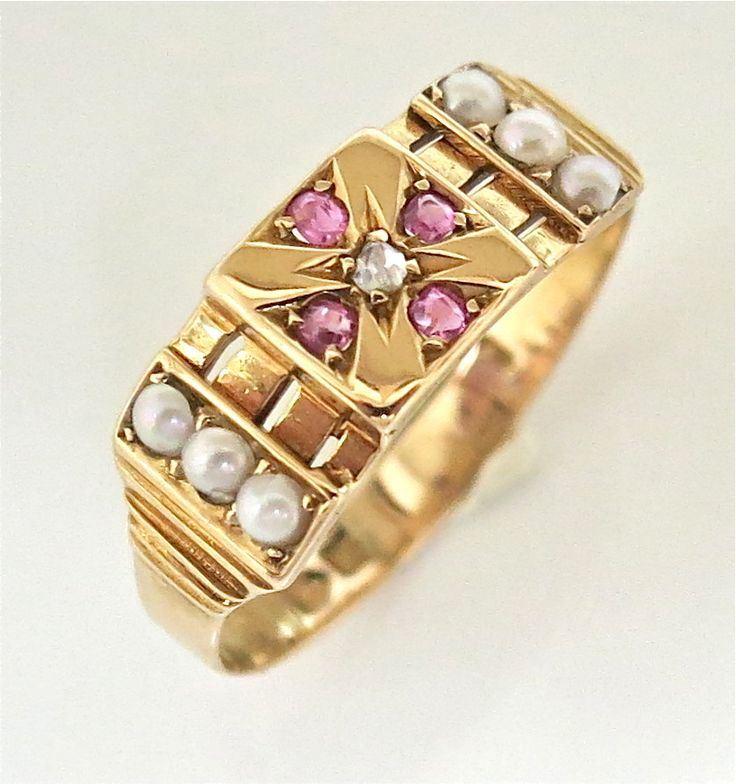 Victorian Ruby & Pearl 15K Gold Ring from thepearl on Ruby Lane