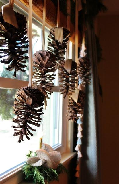 pinecones hang in window